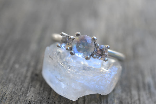Rainbow Moonstone & White Topaz Multistone Engagement Ring