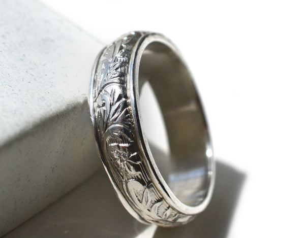 Ornate Flower & Leaf Wedding Band in Sterling Silver