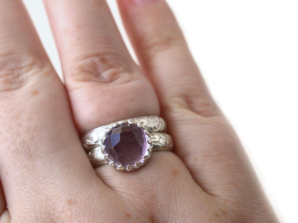 Handmade Pink Amethyst Engagement Ring & Wedding Band