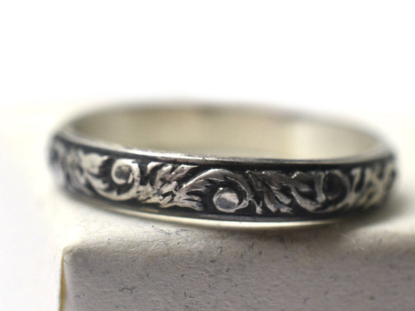 Handmade Oxidized Floral Silver Renaissance Wedding Band