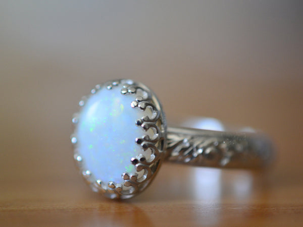 Handmade Floral Sterling Silver Oval White Opal Ring