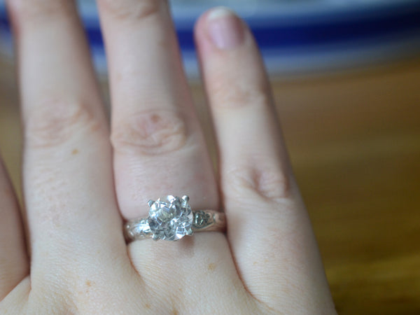 Women's White Topaz Floral Silver Engagement Ring