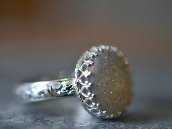 Women's White Drusy Agate Geode Ring in Sterling Silver