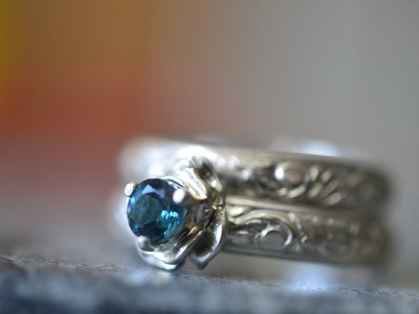 Silver Rose Wedding Ring Set With London Blue Topaz