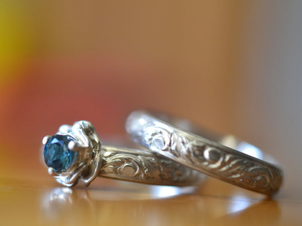 London Blue Topaz & Silver Rose Bridal Ring Set