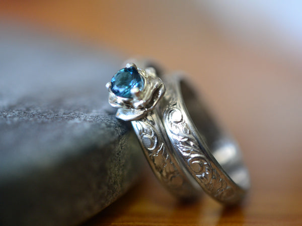 Women's Renaissance Floral London Blue Topaz Wedding Set