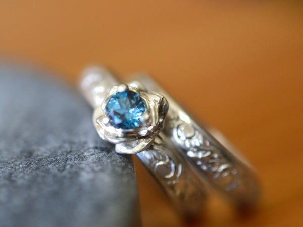 London Blue Topaz Rose Engagement Ring & Leaf Wedding Band