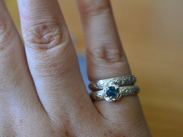 Renaissance Silver Rose & London Blue Topaz Wedding Set