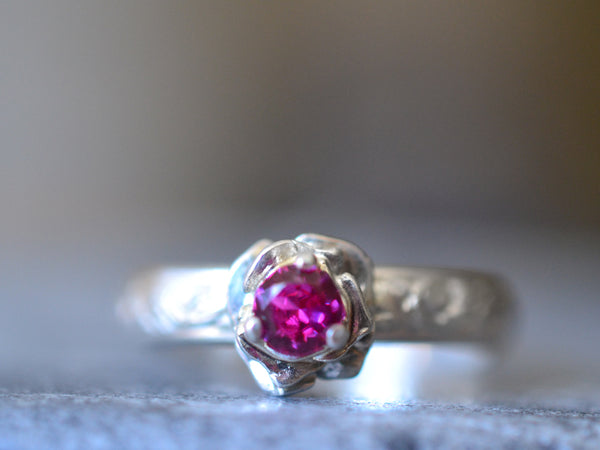 Women's Ruby Engagement Ring With Sterling Silver Rose