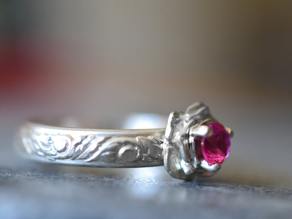 Women's Engravable Ruby Engagement Ring With Silver Rose