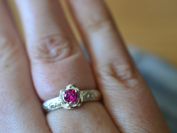 Custom Engraved Silver Rose & Ruby Engagement Ring
