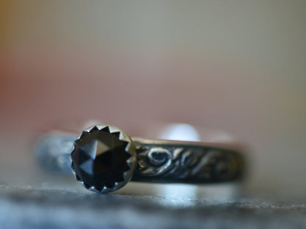 Natural Black Spinel Gemstone Engagement Ring in Oxidised Silver