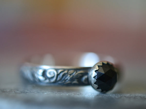 Rose Cut Black Spinel Ring in Oxidised Sterling Silver For Women