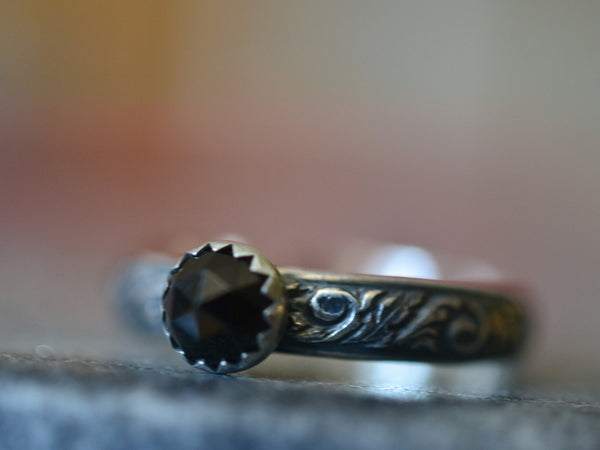Personalised Gothic Black Spinel Ring in Oxidised Sterling Silver