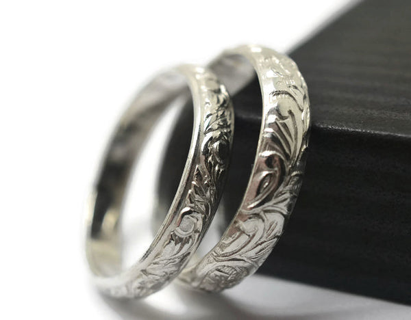 Handmade Floral Sterling Silver Couples Rings