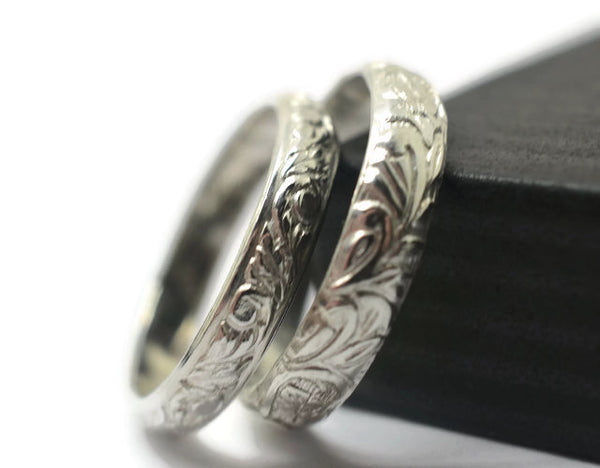 Handmade Floral Silver Wedding Ring Set for Couples
