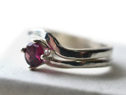 Rhodolite Garnet Solitaire Engagement Ring Set in Silver