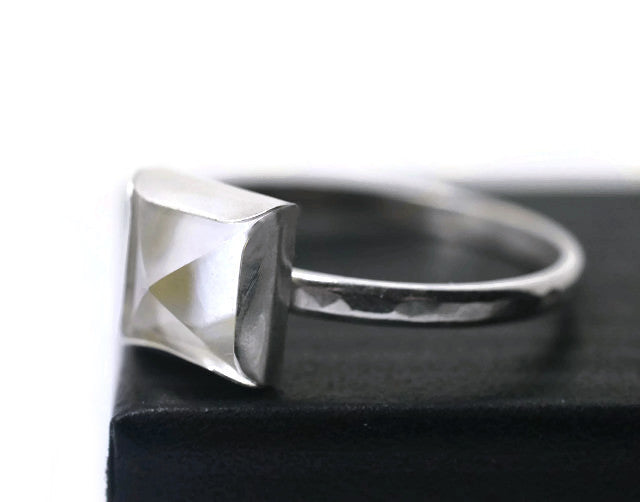 Handforged Pure Quartz Rock Crystal Point Ring