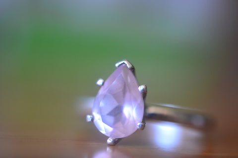 Women's Natural Rose Quartz Crystal Ring in Sterling Silver