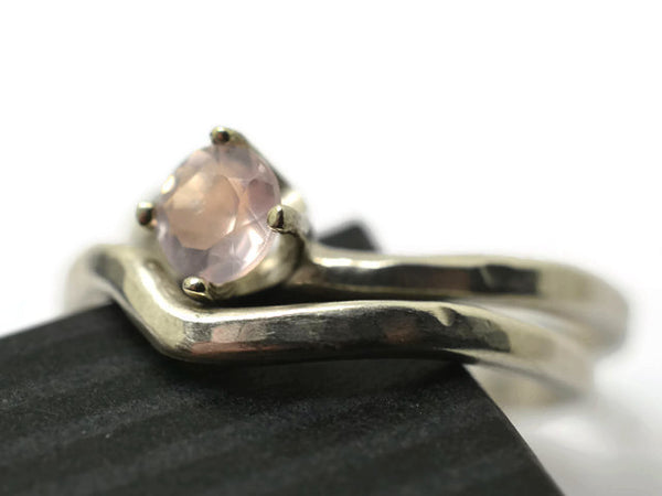 Minimalist Curved Silver Rose Quartz Solitaire Wedding Set