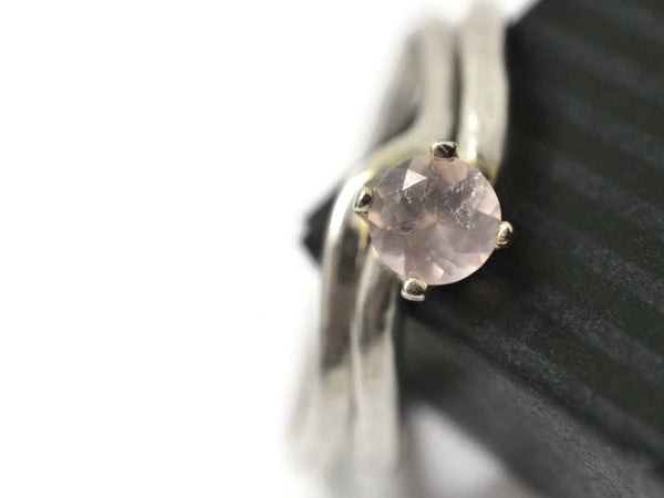 Minimalist Silver Rose Quartz Solitaire Wedding Set