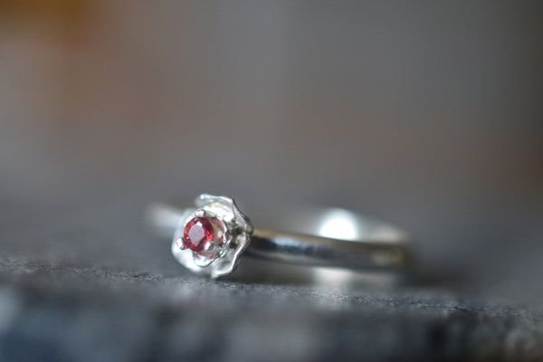 Dainty 2mm Red Sapphire Gemstone Silver Flower Ring