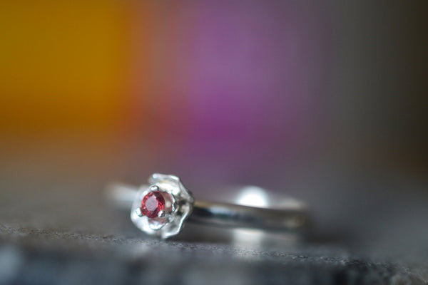 Women's Dainty Red Sapphire Ring With Sterling Silver Flower