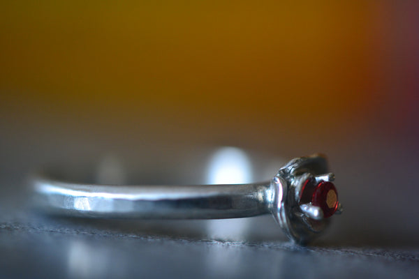 Customised Sterling Silver Flower Ring With Red Sapphire
