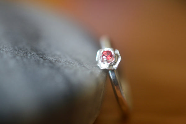 Personalised Sterling Silver Rose Red Sapphire Ring