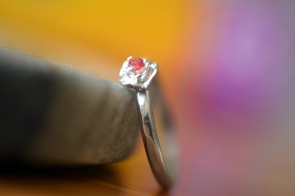 Simple Natural Red Sapphire Ring With Sterling Silver Rose