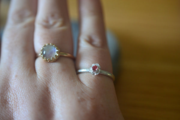 Dainty 2mm Red Sapphire Crystal Ring With Silver Flower Setting