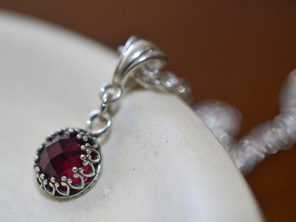 Dainty 8mm Lab Ruby Pendant in Sterling Silver