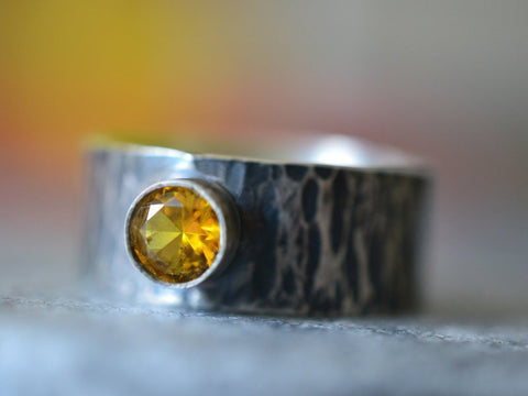 Men's Oxidised Silver & Yellow Sapphire Wedding Band