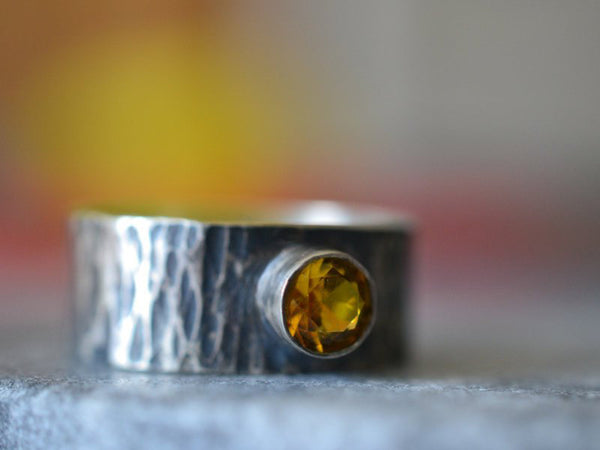 Personalised Men's Wedding Band With 5mm Yellow Sapphire