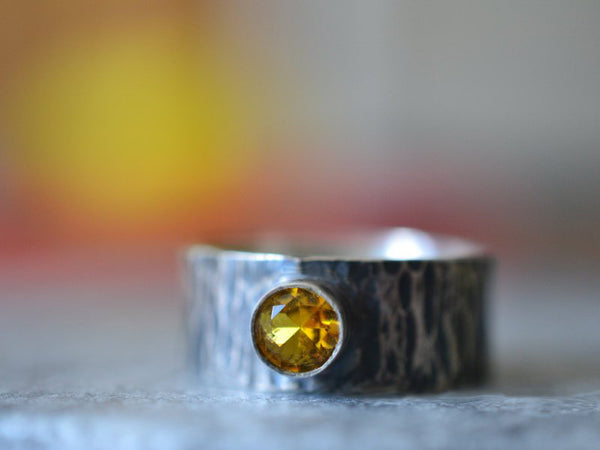 Engravable Men's Oxidised Silver Wedding Band With Yellow Stone