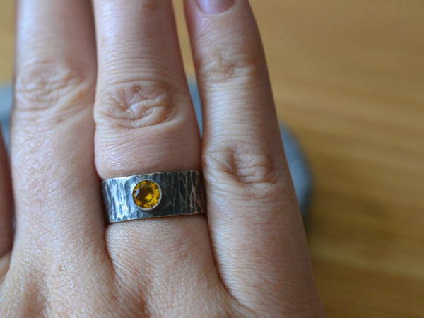 Men's Rustic Silver Tree Bark Handfasting Ring With Yellow Sapphire