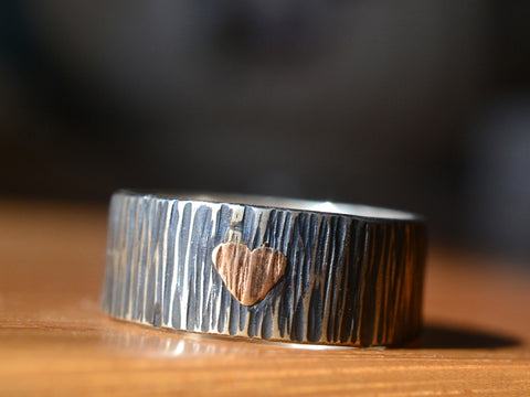 Oxidized Silver Tree Bark 14K Rose Gold Heart Wedding Band