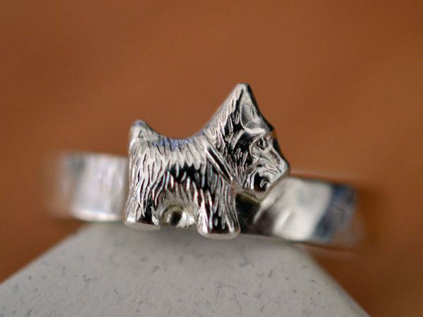 Sterling Silver Scottie Dog Ring with Customization