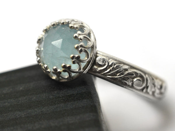 Silver Renaissance Style 8mm Rose Cut Milky Aquamarine Ring