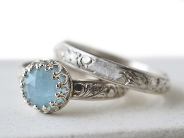Seafoam Aquamarine Bridal Ring Set in Sterling Silver