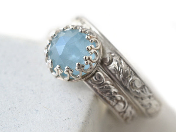 Women's Milky Aquamarine Wedding Set in Silver