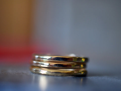 Set of 3 2mm Wide Hammered 14K Gold Stack Rings