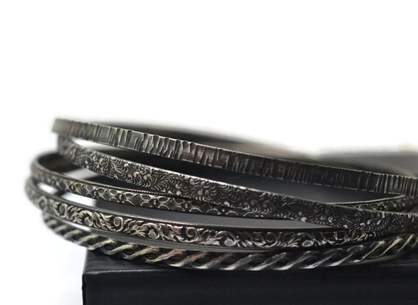 Oxidized Sterling Silver Patterned Bangle Stacking Set of 5