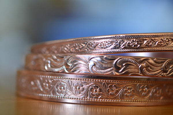 Set of Three Patterned Pure Copper Adjustable Cuffs
