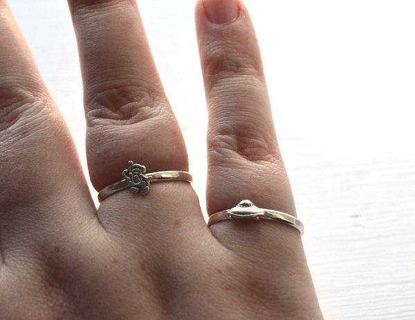 Dainty Silver Flying Saucer Spaceship Charm Ring