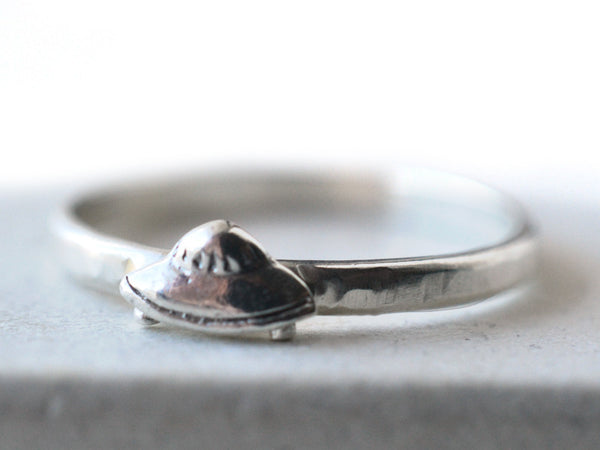 Dainty Sterling Silver Flying Saucer UFO Charm Ring