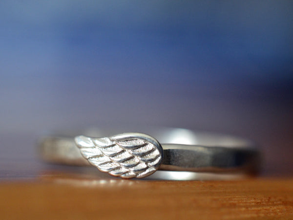Handmade Sterling Silver Angel Wing Charm Ring