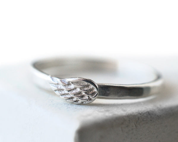 Handmade Silver Angel Wing Charm Ring