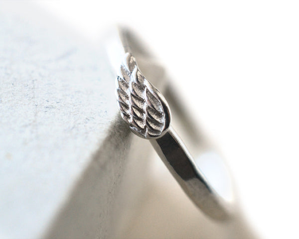 Sterling Silver Angel Wing Charm Ring