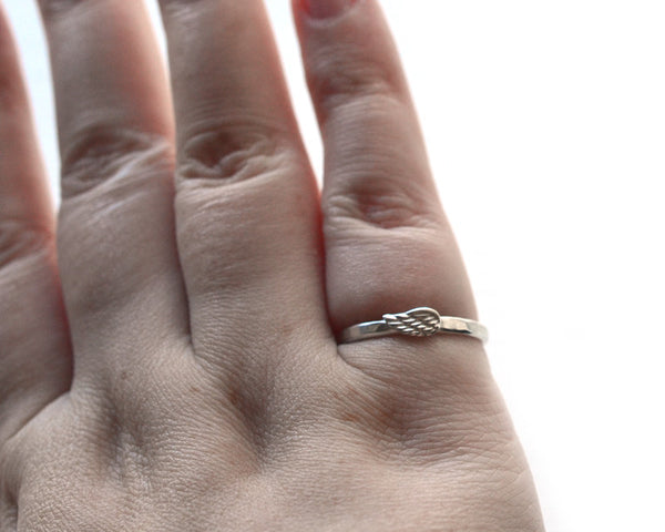 Handmade Women's Angel Wing Ring in Silver